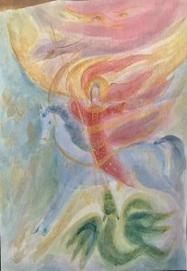 a painting of the archangel Michael on a horse.